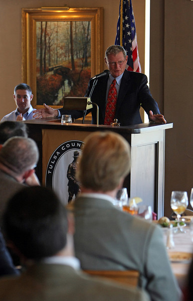 Senator Jim Inhofe speaks to the members of the Oklahoma Independent Petroleum Association at their monthly luncheon at the Tulsa Country Club Wednesay.