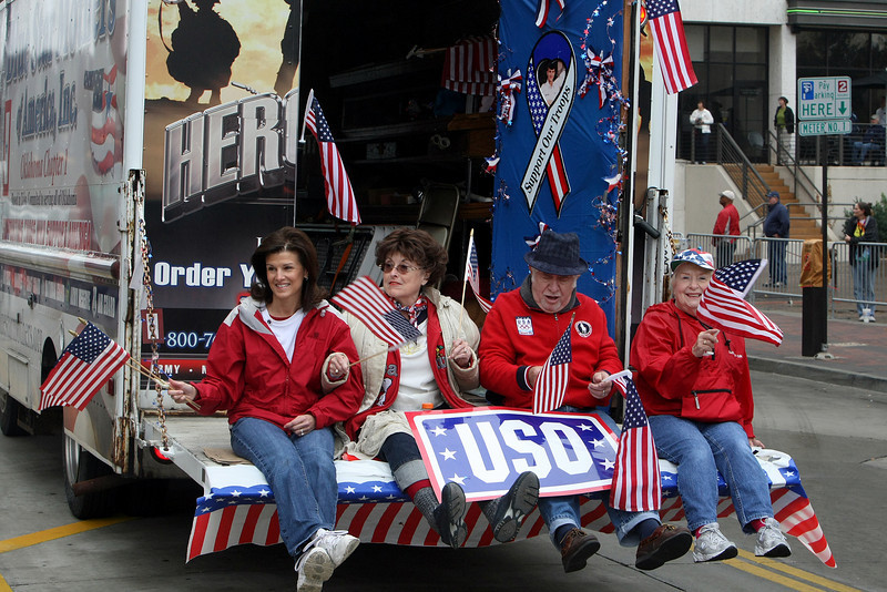 Participants celebrate Veterans Day with a parade, which wound through downtown Tulsa.