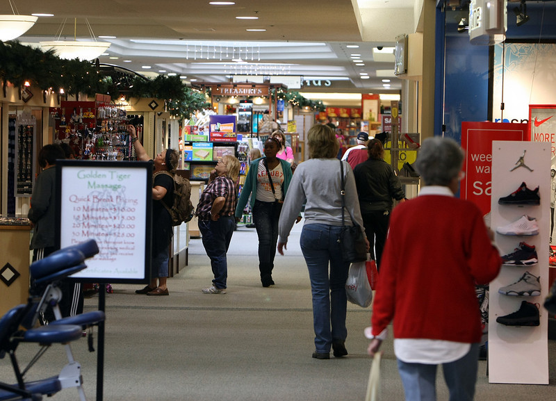 Shoppers at the Promenade Mall in Tulsa.