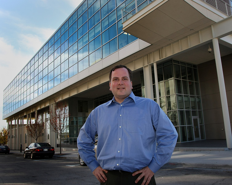 Scott Phillips, Co-Chairman of the startup weekend group,  Stands outside the TCC Center for Creativity where the weekend long event will be held.