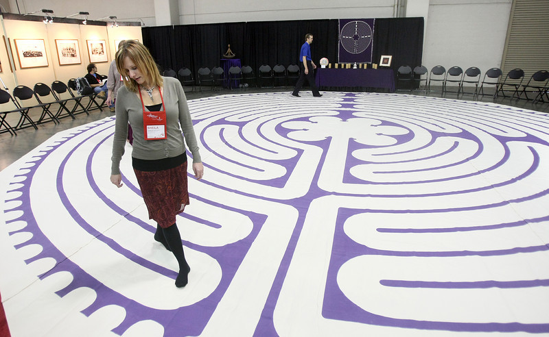 Sheila Hallett walks the labyrinth during the 2010 Creative World Forum in November. PHOTO BY MAIKE SABOLICH