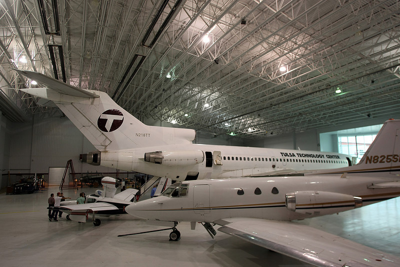 Aircraft for students to work and study on rest in the Tulsa Technology Centers main hangar located at the R.L. Jones Airport in Jenks.