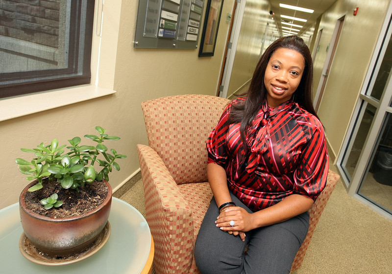 Aprille Franks  with FrankWell Property Consulting & Leasing at the Moore Norman Technology Center's Business Development Center. PHOTO BY MAIKE SABOLICH