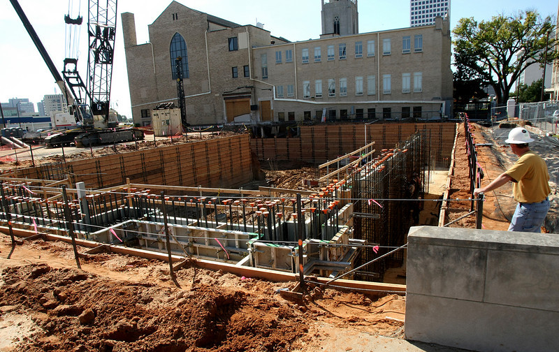 Workmen lay the foundation to a multi-million dollar addition to the expand the First Presbyterian Church in downtown Tulsa.