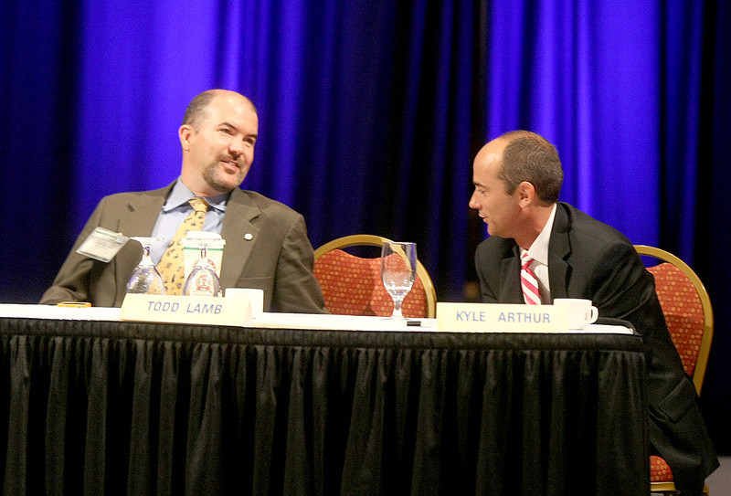 Water Board Director J.D. Strong, left, at the conference in Norman Tuesday. PHOTO BY MAIKE SABOLICH