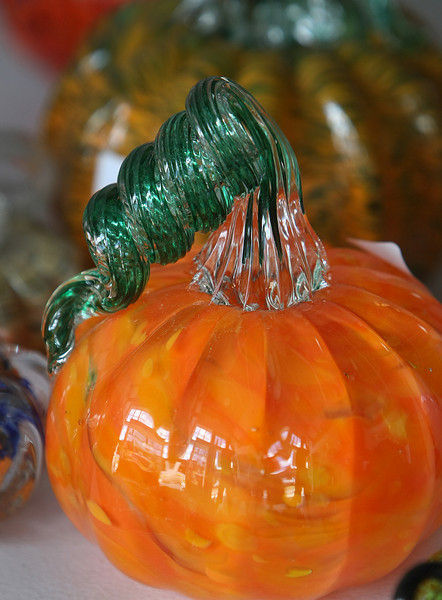 A Hand blown glass pumpkin created at the Tulsa Glassblowing Studio located in the Brady Arts District in Tulsa.