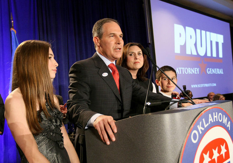 Attorney General-elect Scott Pruitt surrounded by his family gives his acceptancve speech at the Marriott Hotel on Northwest Expressway Tuesday. PHOTO BY MAIKE SABOLICH