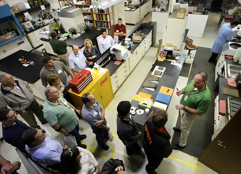 Participants tour the Sherry Laboratories during their open house in Broken Arrow Thursday.