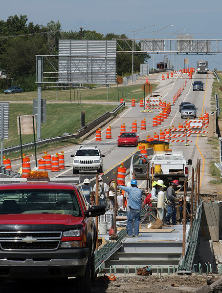 Traffic is diverted around a Bridge replacement project at the intersection of I-44 and Highway 75 in Tulsa.
