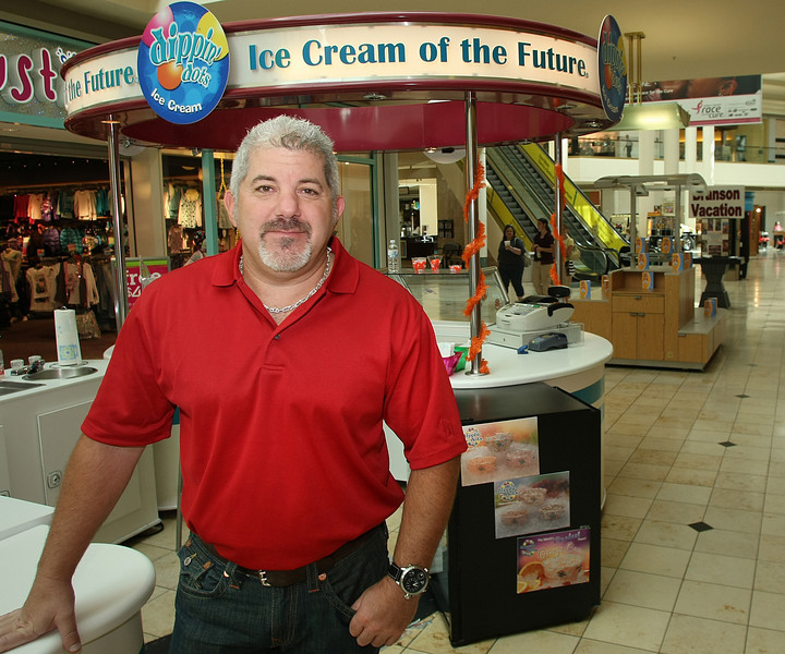 Ryan Hausher at his Dippin' Dots counter in the Woodland Hills Mall.