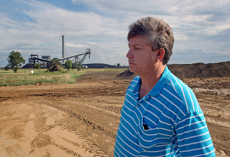 Tom Morris, Operations Supervisor at the PSO electric generation plant in Oologah, at the fly ash disposal pile.