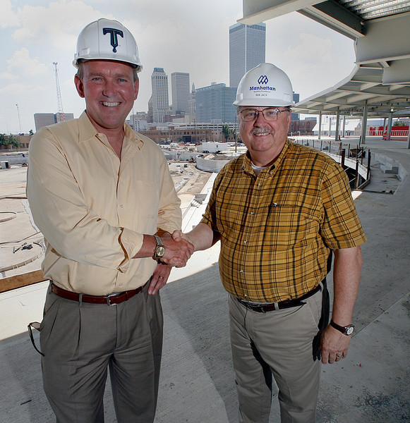 Manhattan Construction Company has promoted Bob Jack (Right) to the position of Tulsa Area Manager responsible for the company's Tulsa area business unit. Jack is seen here during the construction of the OneOk Ballpark with Chuck Lamson the President Tulsa Drillers.