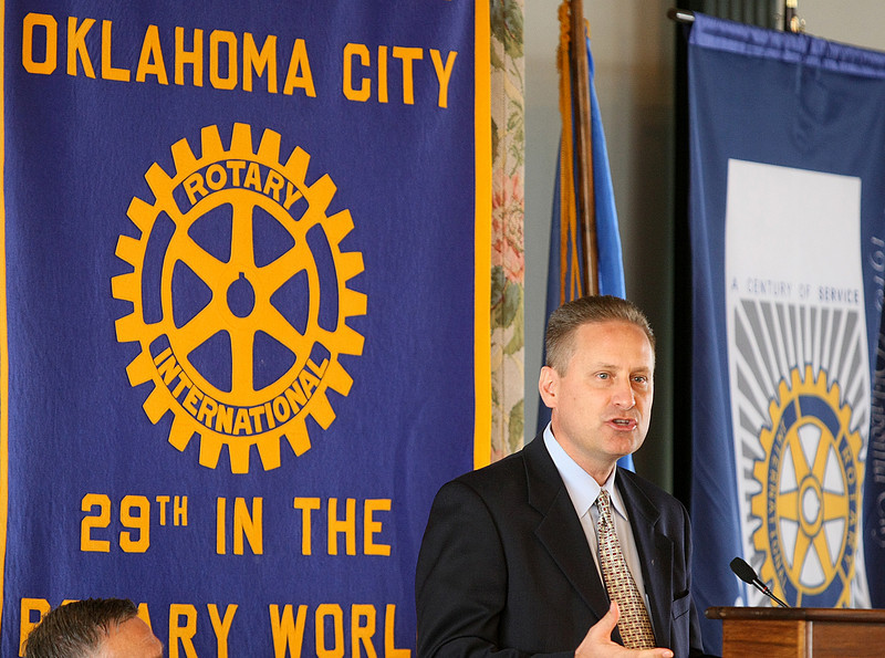 Steven Green, president of Hobby Lobby Stores Inc., speaks at the Rotary Club 29 luncheon at the Petroleum Club Tuesday about giving back to employees and the community. PHOTO BY MAIKE SABOLICH