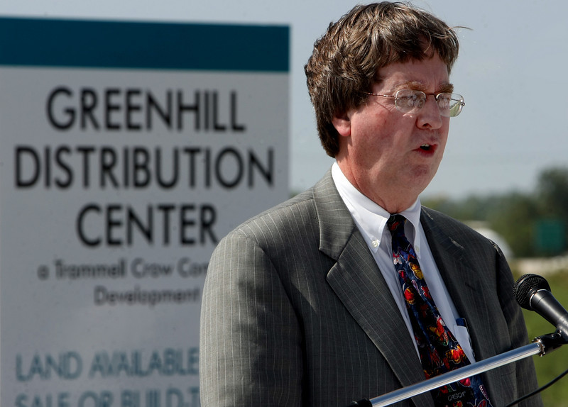 Mayor Dewey Bartlett speaks to the crowd gathered at the ribbon cutting of the Greenhill Distribution Center in North Tulsa.