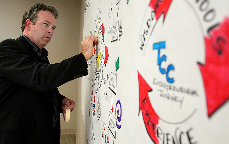 Sean Griffin  works on a map depicting Tulsa Community Colleges Launch your Entrepreneurial Journey curriculum.