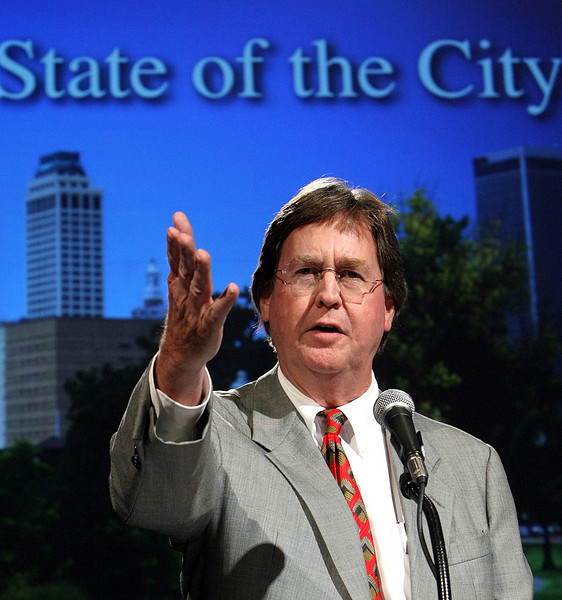 Tulsa Mayor Dewey Bartlett gives the State of the City speech at the Tulsa Metro Chamber Luncheon Wednesday.