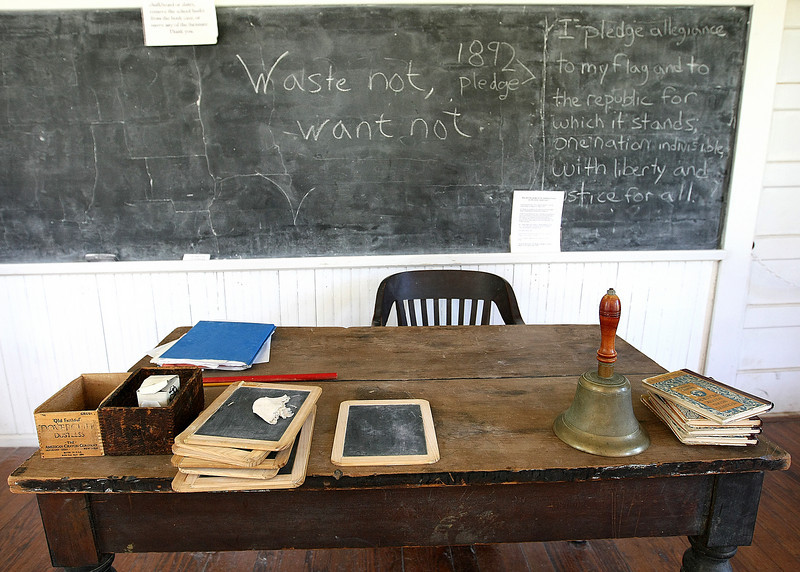 Will Rogers' desk at the Harn Homestead school house. PHOTO BY MAIKE SABOLICH
