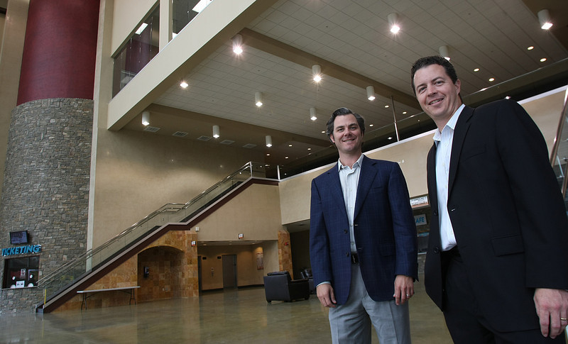 Ryan Carter and Darren Sides, of Porthaven Partners in Tulsa, stand in the lobby of the Sprit Center in Bixby.