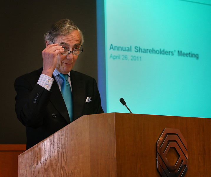 Bank of Oklahoma Chairman George Kaiser speaks at the shareholders meeting in Tulsa Tuesday.
