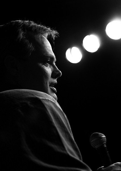 Standup comedian Roy Johnson delivers his routine at the Looney Bin in South Tulsa.