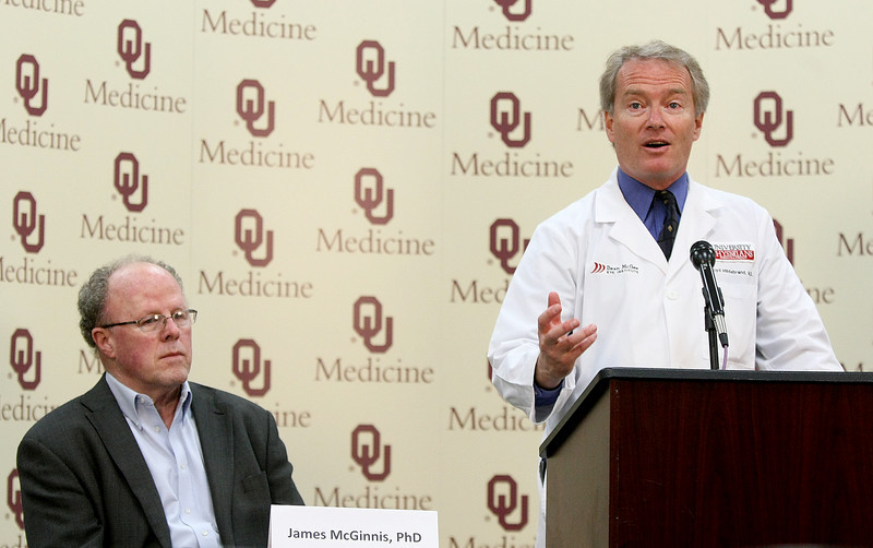 Dr. P. Lloyd Hildebrand, right, with the Dean McGee Eye Institute speaks at a press conference together with Dr. James McGinnis with the OU College of Medicine about nanoparticles and eye disease Monday. PHOTO BY MAIKE SABOLICH