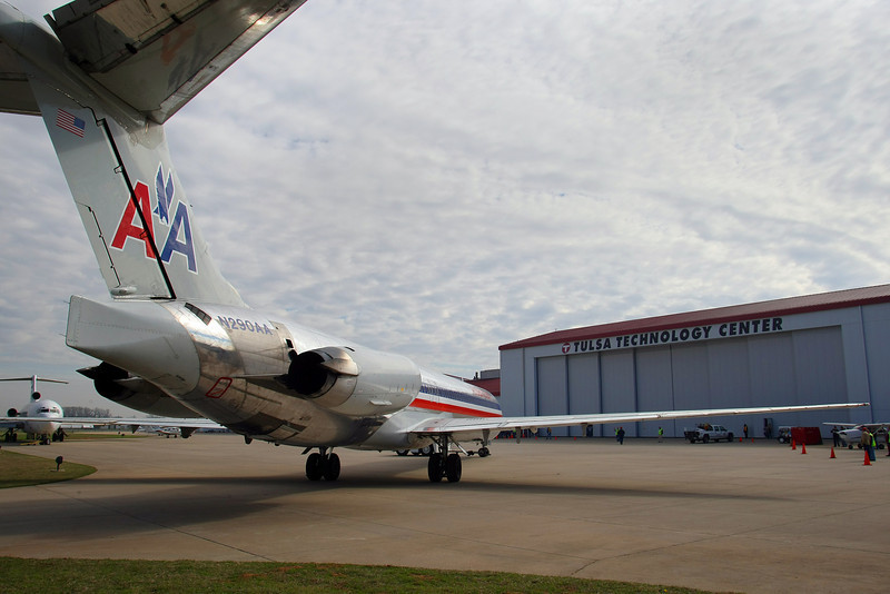 An American Airlines MD-80 aircraft donated to the Tulsa Technology Center in Jenks taxis to its final destination. The aircraft will be studied by the centers students enrolled in the schools aviation programs.