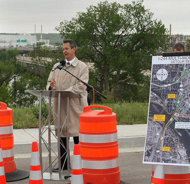 Ivan Marrero, Assistant Division Administrator with the Federal Highway Administration, speaks at a press conference to announce the beginning of construction of the I-244 Multi-Modal Bridge near downtown Tulsa.