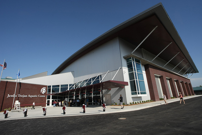 The exterior of the new Jenks Trojan Aquatic Center.