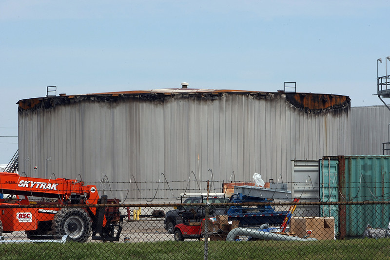 The petroleum storage tank that caught fire at the Holly Refinery.