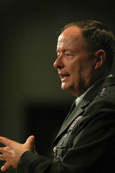 General Keith Alexander, Commander, U.S. Cyber Command, and Director of the National Security Agency/Central Security Service gives a speech at the University of Tulsa.
