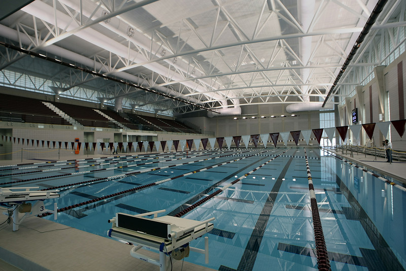 The interior of the new Jenks Trojan Aquatic Center.
