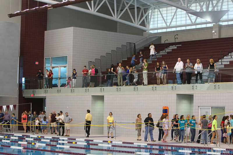 The public inspects the Jenks Aquatic Center after it's ribbon cutting ceremony.  The 13,500 Sq Foot Center houses an Olympic size swimming pool and can seat 1200 spectators.
