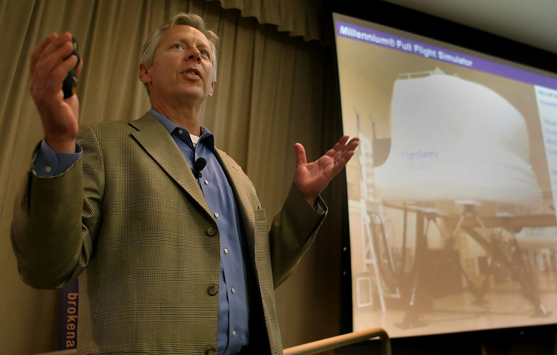 Rick Armstrong, Vice President of FlightSafety, speaks at the Broken Arrow Area Chamber of Commerce Forum Luncheon Wednesday.