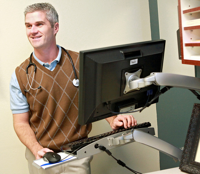 Brendon McCollom, a Mercy physician, can use MyMercy to send secure messages to patients 24/7 via a computer or smartphone. Mercy Health Center got its electronic health record up and running last summer. COURTESY PHOTO