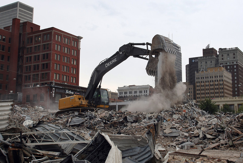 Demolition of the 206 S. Cheyenne Avenue to make way for the new One Place Tower,  the first new office tower in downtown in a decade.