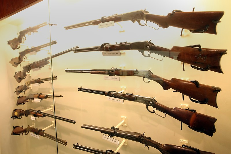A display of rifles once belonging to Tom Mix on display at the Tom Mix Museum in Dewey Oklahoma.