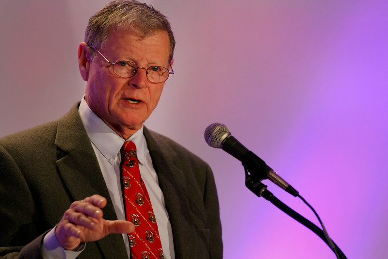 Senator Jim Inhofe delivers his presentation at the Tulsa Metro Chambers Congressional Forum in Tulsa Monday.