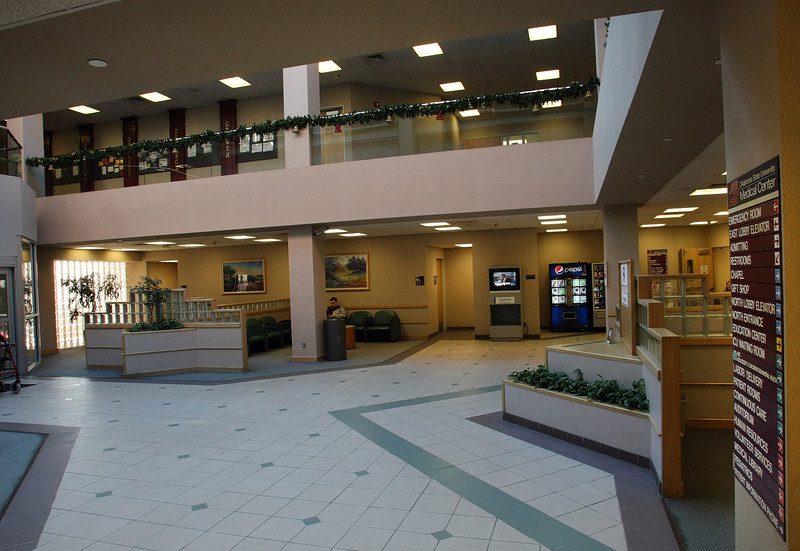 The main lobby of the OSU Medical Center in Downtown Tulsa.