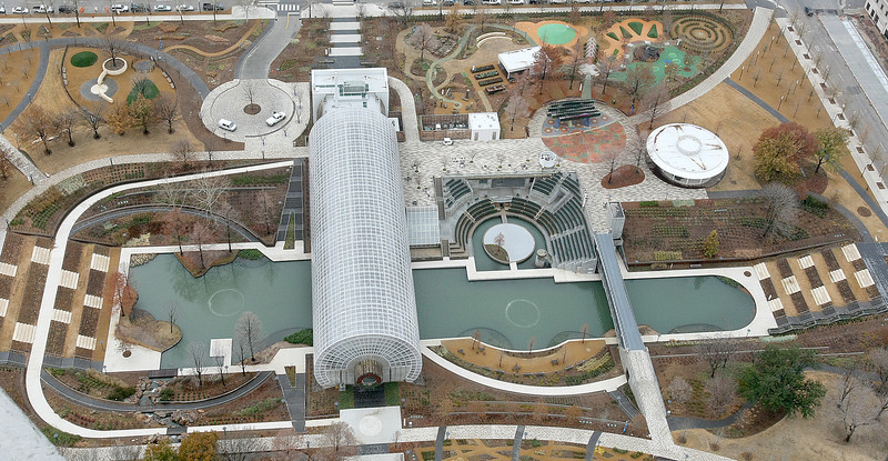 Myriad Gardens as seen from the Devon Tower. PHOTO BY MAIKE SABOLICH