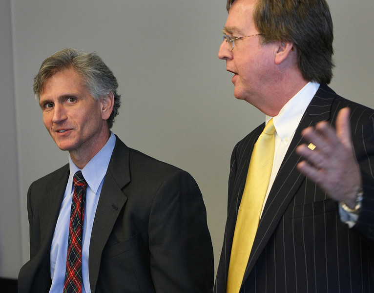 Tulsa mayor Dewey Bartlett (right) speaks atat a news conference announcing Clay Birds promotion to Economic Development Director for the city of Tulsa.