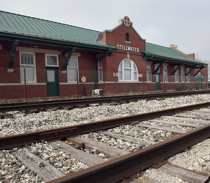 The old Santa Fe railroads station, and headquarters of Kappa Kappa Psi fraternity, in Stillwater.