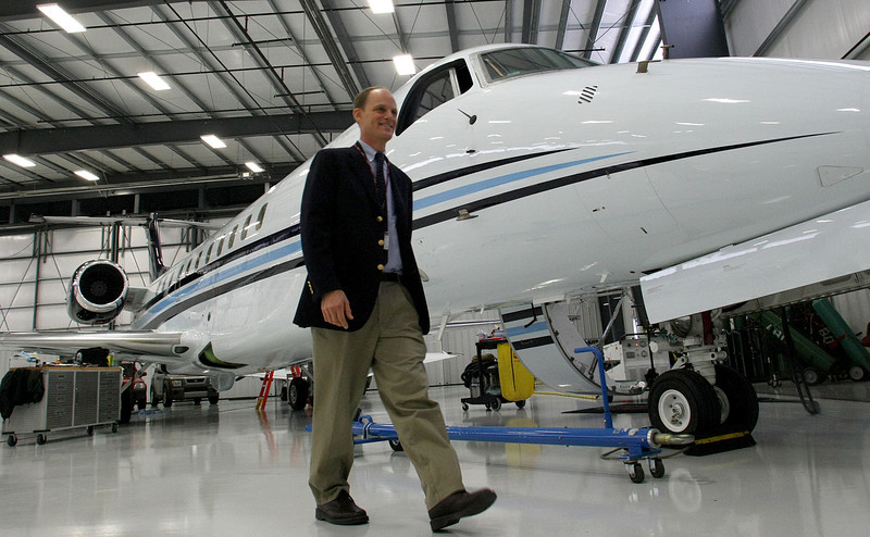 Dan Burnstein, President of Omni Air Transport, at the companies hangar at Tulsa's International Airport.