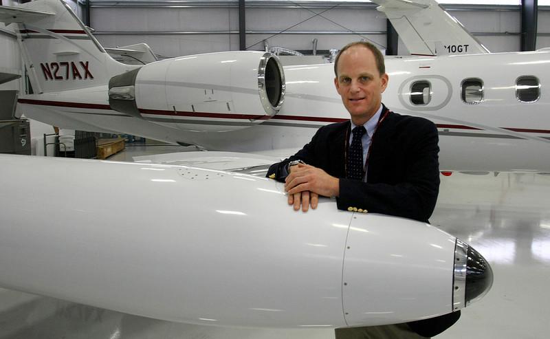 Dan Burnstein, President of Omni Air Transport, at the companies hangar at Tulsa's International Airport.