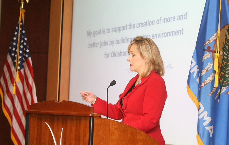 Governor Mary Fallin speaks at the  History Center Thursday in regards to the FallinForBusiness.com survey going live. PHOTO BY MAIKE SABOLICH