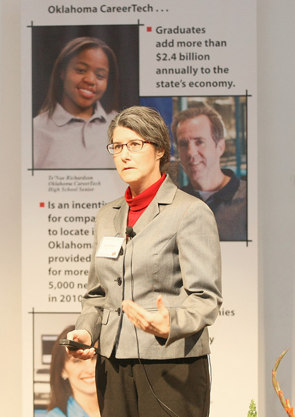 University of Oklahoma economist and associate professor Cynthia Rogers said that all levels of government in Oklahoma rely too heavily on sales tax as a revenue source at Tuesday's Oklahoma Economic Outlook Conference at Metro Technology Centers at Springlake Campus in Oklahoma City. PHOTO BY MAIKE SABOLICH