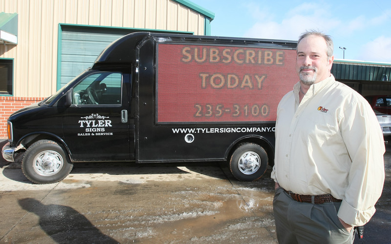 Matt Hinkle General Manager at Tyler Sign Co. PHOTO BY MAIKE SABOLICH