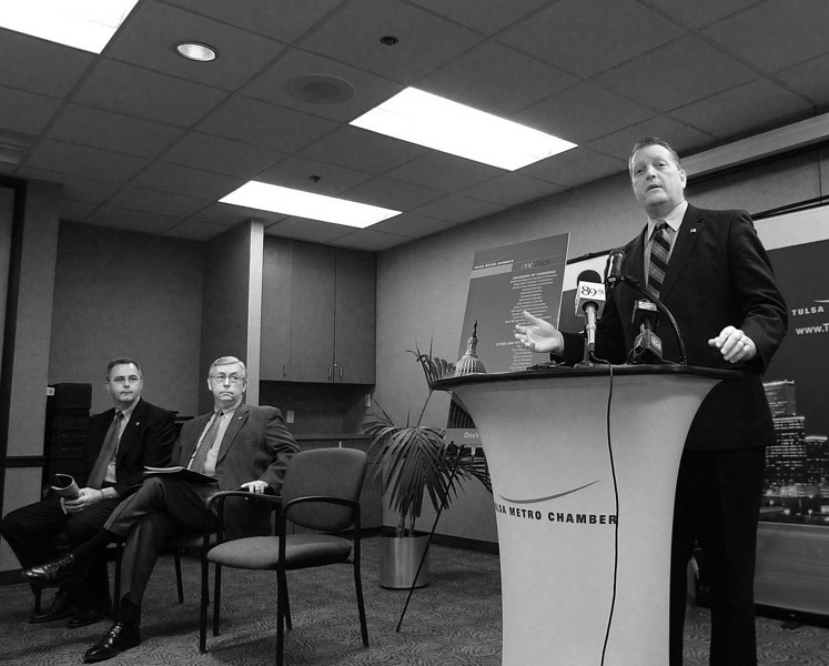 Senate President Pro Tempore Brian Bingman of Sapulpa, speaks at a Tulsa Metro Chamber news conference announcing the 2011 OneVoice priorities.