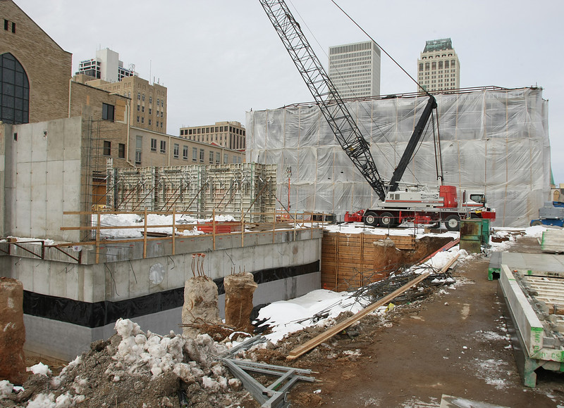 The construction site of the First Presbyterian Church expansion in downtown Tulsa.