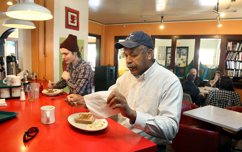 Tony Owens, right, and Aaron White are having breakfast at the Red Cup Thursday. PHOTO BY MAIKE SABOLICH