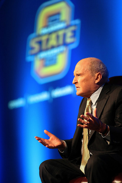 Jack Welch, former Chairman and CEO of General Electric, answers audience questions at the OSU Business Forum in Tulsa.